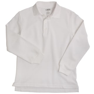 French Toast Children's 4-20 Long Sleeve Pique White Polo Shirt