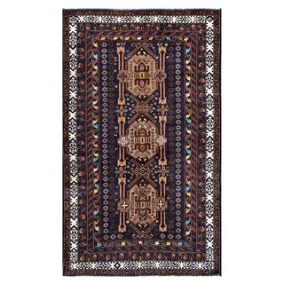 Herat Oriental Afghan Hand-knotted Tribal Balouchi Navy/ Brown Wool Rug (3'10 x 6'3)