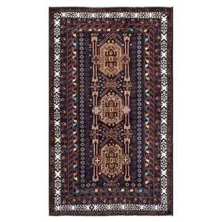 Herat Oriental Afghan Hand-knotted Tribal Balouchi Wool Rug (3'10 x 6'3)