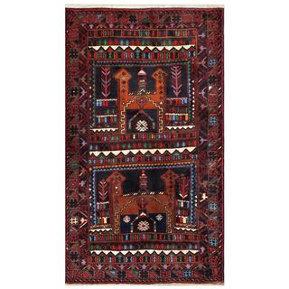 Herat Oriental Afghan Hand-knotted Tribal Balouchi Wool Area Rug (3'6 x 6'2)