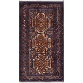 Herat Oriental Afghan Hand-knotted Tribal Balouchi Navy/ Brown Wool Rug (3'7 x 6'8)