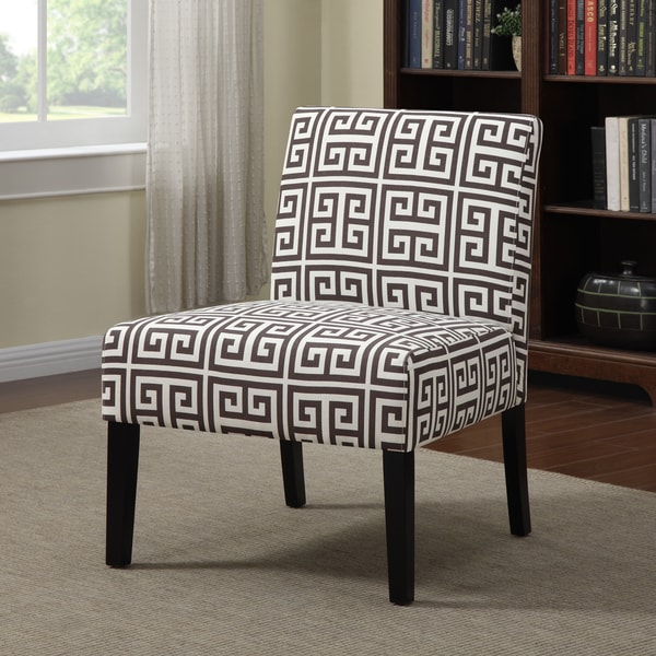 Black And White Greek Key Accent Chair: Portfolio Niles Brown Greek Key Armless Accent Chair