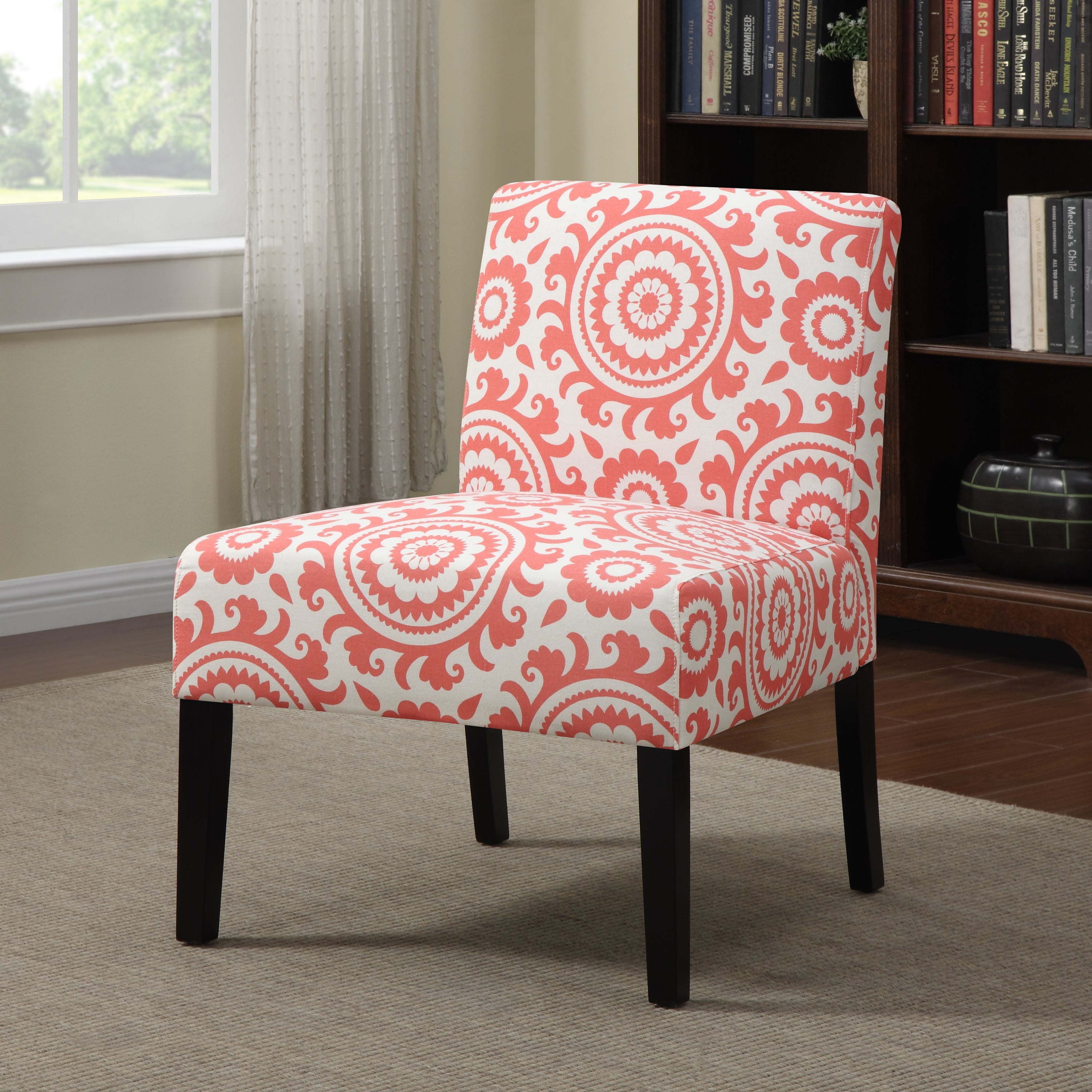 Highland Alcott Pink Coral Medallion Armless Accent Chair