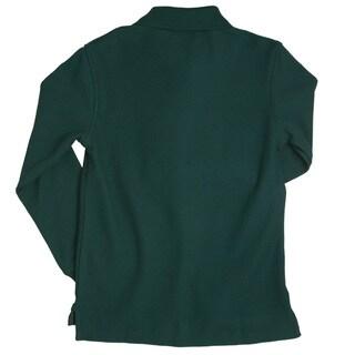 French Toast Boys' Long Sleeve Green Pique Polo Shirt