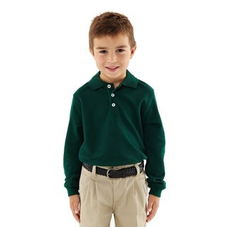 French Toast Boys' Long Sleeve Green Pique Polo Shirt