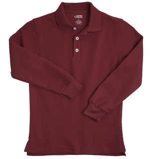 French Toast Children's Long Sleeve Pique Burgundy Polo Shirt