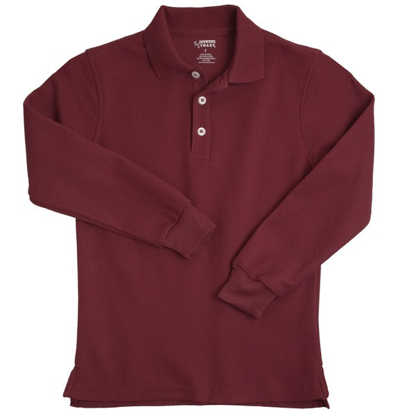 French toast children 39 s long sleeve pique burgundy polo Burgundy polo shirt boys