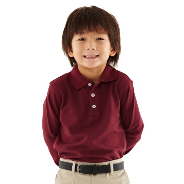 French toast toddler boys burgundy pique polo shirt free Burgundy polo shirt boys