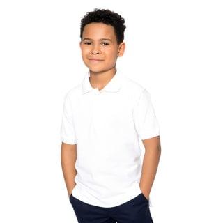 French Toast Toddler Boys White Short Sleeve Pique Polo Shirt