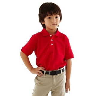 French Toast Toddler Boys Red Short Sleeve Pique Polo Shirt