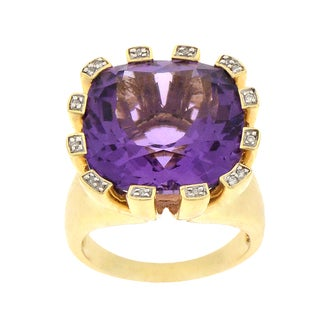 Beverly Hills Charm 14k Yellow Gold Amethyst and Diamond Accent Ring