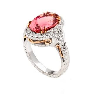 18k Two-tone Gold Pink Tourmaline and 3/4ct TDW Diamond Ring (G, VS2)