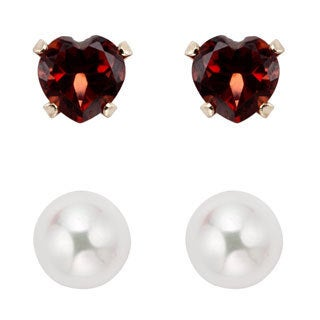 Pearlyta 14k Gold Children's Garnet and Freshwater Pearl Earring Set (4-5 mm) with Gift Box