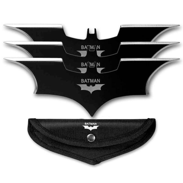Black Batman Bat Darts Fixed Blade Batarang Throwing Knives (Pack of 3)