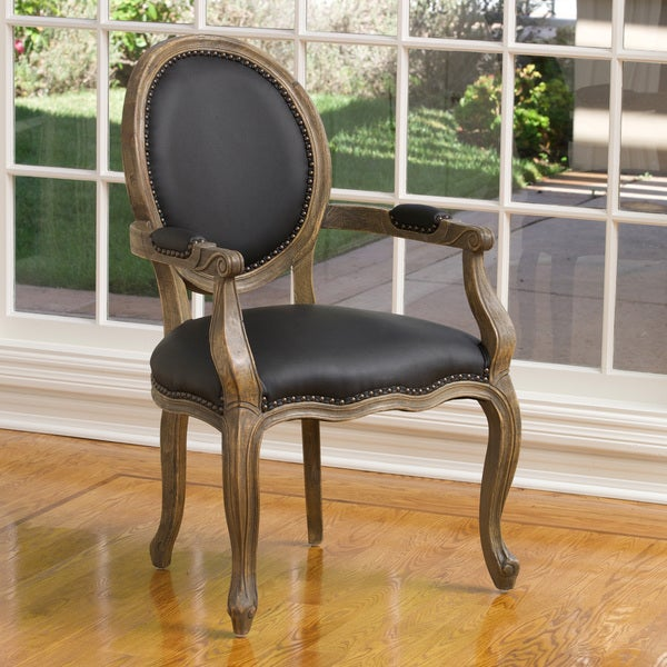 Jacob Black Leather Weathered Oak Arm Chair Free Shipping Today Overstock Com 15554785
