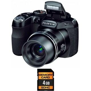 FujiFilm FinePix S2980 14MP Black Bridge Digital Camera 4GB Bundle