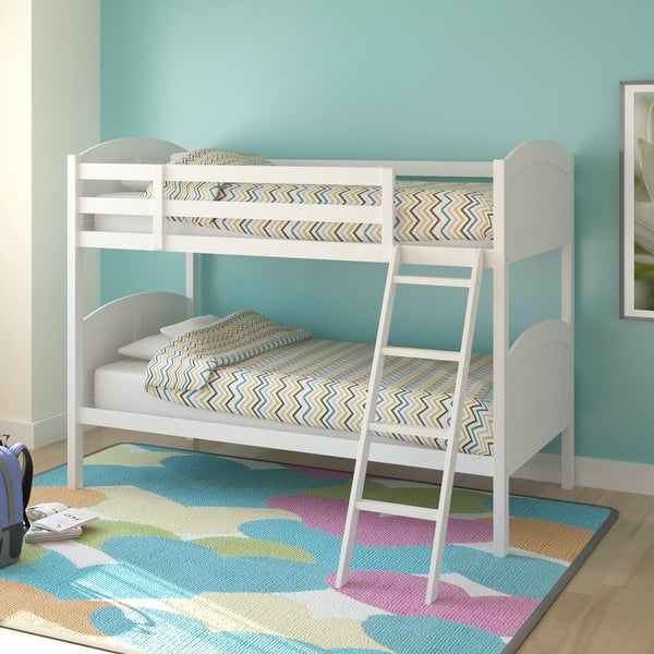 Corliving Concordia White Painted Solid Wood Single Bunk