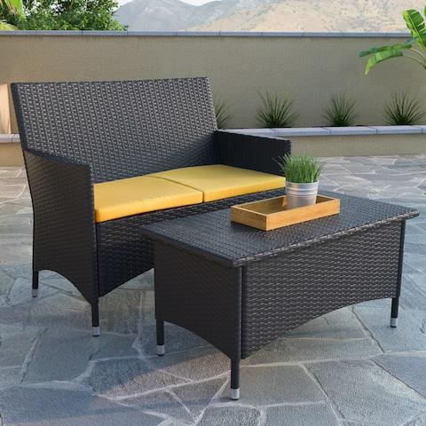 CorLiving Cascade Patio Sofa and Coffee Table Set