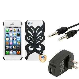 INSTEN Phone Case Cover/ Travel Charger/ Audio Cable for Apple iPhone 5