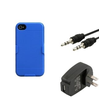 INSTEN Phone Case Cover/ Travel Charger/ Audio Cable for Apple iPhone 4/ 4S