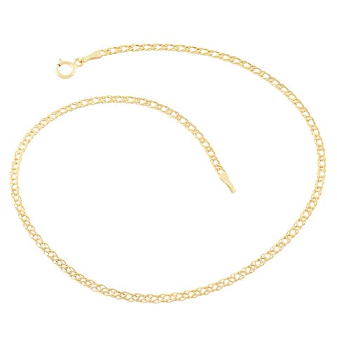 Fremada 14k Yellow Gold 2mm Diamond Weave Curb Anklet (10 inch)