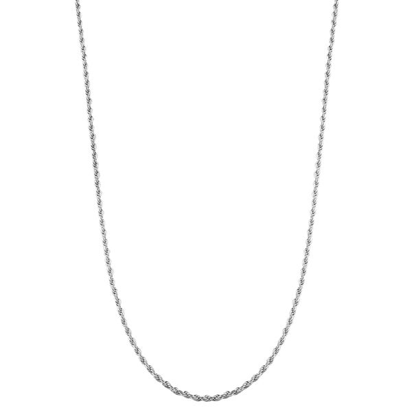 Fremada Rhodium Plated Sterling Silver Adjustable Diamond-cut Rope Chain Necklace