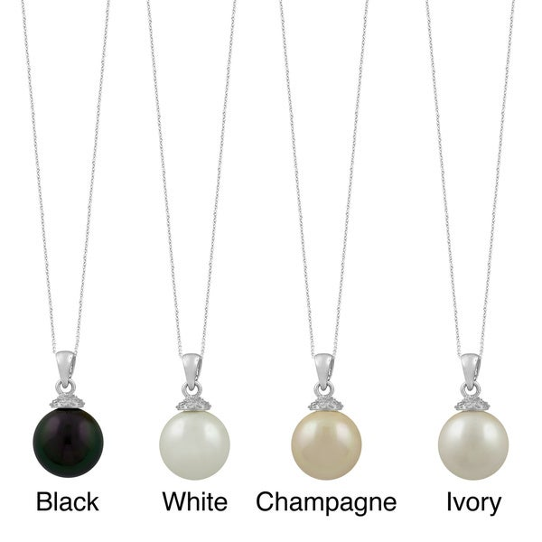 Fremada Sterling Silver 12mm Shell Pearl Necklace (Black, White, Champagne, or Ivory)
