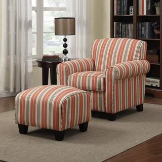 Portfolio Mira Red Stripe Arm Chair and Ottoman