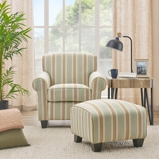 Handy Living Mira Summer Aqua Blue Stripe Arm Chair and Ottoman