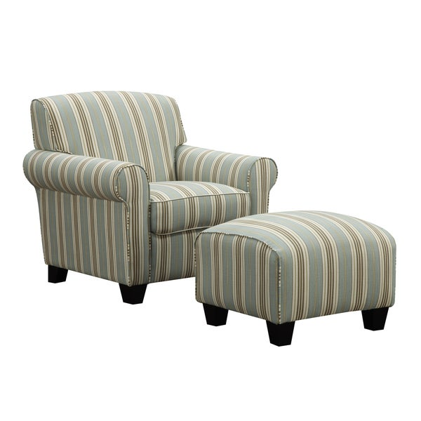 Turquoise Arm Chair Portfolio Mira Summer Aqua Blue Stripe Arm Chair and Ottoman - Free ...
