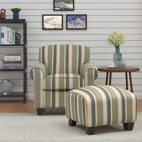 Handy Living Mira Coastal Blue Stripe Arm Chair and Ottoman