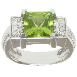 Michael Valitutti 14k White Gold Peridot and Diamond Ring