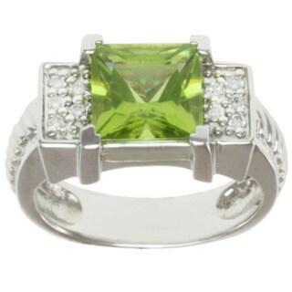 Michael Valitutti 14k White Gold Peridot and Diamond Ring