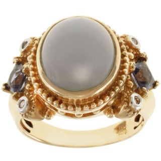 Michael Valitutti 14k Yellow Gold Blue Opal, Iolite and Diamond Ring