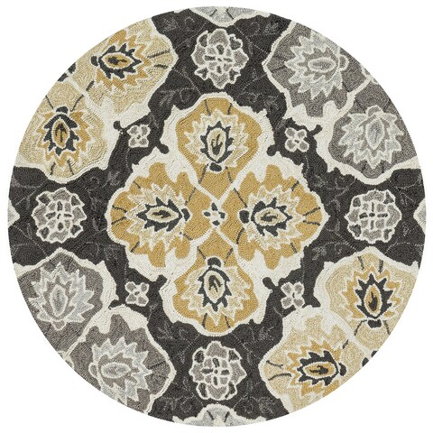 Charlotte Charcoal/Multicolored Handmade Round Rug - 3' x 3'