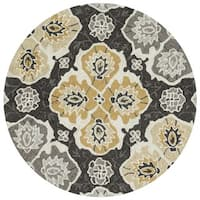 Charlotte Charcoal/Multicolored Handmade Round Rug (3' x 3')