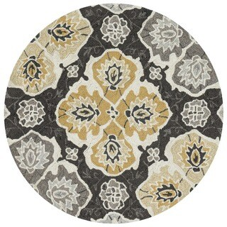 Hand-hooked Charlotte Charcoal/ Multi Rug (3' Round)