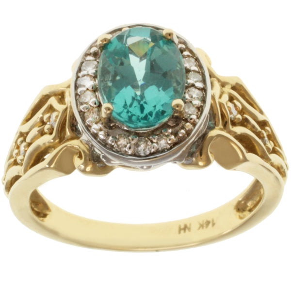 Michael Valitutti 14K Two-tone Gold Paraiba Apatite and Round-cut Diamond Ring