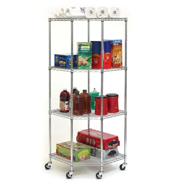 Seville Classics Chrome 4-tier Corner Wire Casters/ Wheels Shelving System