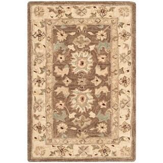 Safavieh Handmade Anatolia Treasure Oriental Brown/ Beige Hand-spun Wool Rug (2' x 3')