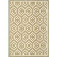 Safavieh Courtyard Honeycomb Green/ Beige Indoor/ Outdoor Rug - 8' x 11'