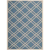 Safavieh Indoor/ Outdoor Courtyard Crisscross-pattern Blue/ Beige Rug - 8' x 11'