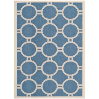 "Safavieh Indoor/ Outdoor Courtyard Circles-pattern Blue/ Beige Rug (5'3"" x 7'7"")"