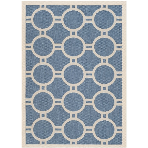Safavieh Indoor/ Outdoor Courtyard Circles-pattern Blue/ Beige Rug - 8' x 11'