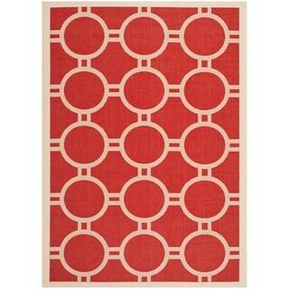 Safavieh Indoor/ Outdoor Courtyard Red/ Bone Rug (8' x 11')