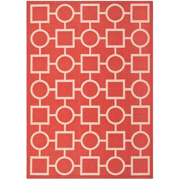 Safavieh Indoor/ Outdoor Courtyard Red/ Bone Area Rug - 8' X 11'