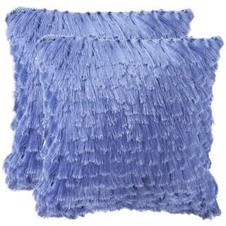 Safavieh Cali Shag 18-inch Lilac Feather/ Down Decorative Shaggy Pillow (Set of 2)