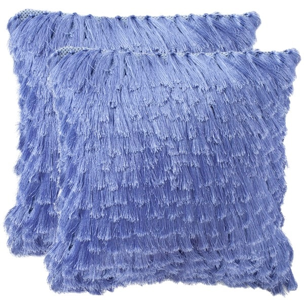 Safavieh Cali Shag 18-inch Lilac Feather/ Down Decorative Shaggy Pillow (Set of 2)
