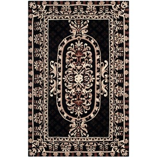 Safavieh Hand-made Naples Black Wool Rug (5' x 8')