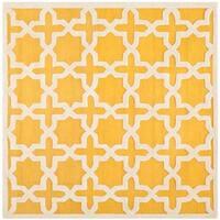 Safavieh Handmade Moroccan Cambridge Gold/ Ivory Wool Rug - 8' Square